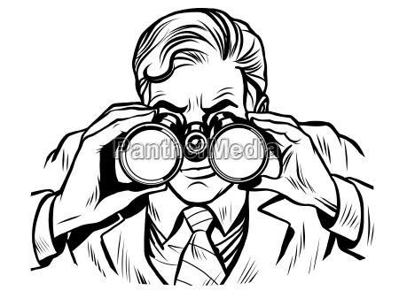sentinel watchman with binoculars line art