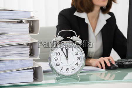 young businesswoman working on computer in