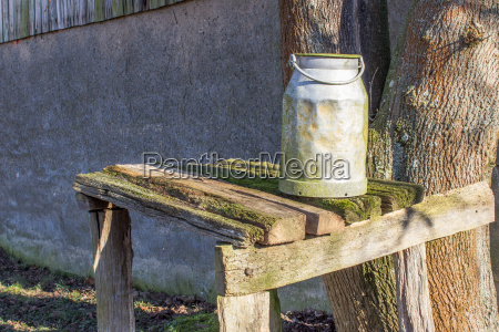 milk jug on a wooden table