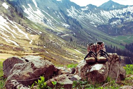 bergsteigen mit den bergstiefeln im