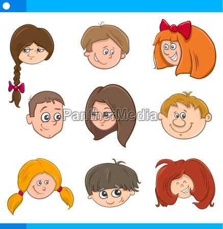 children cartoon characters set