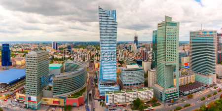 aerial view of modern city in