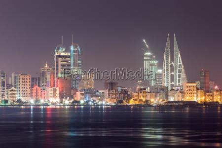skyline of manama at night bahrain