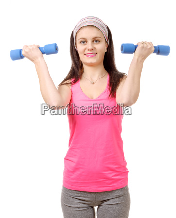 pretty teenager with weights isolated on