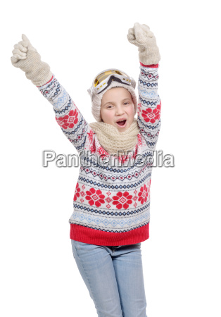 happy young girl snowboarding isolated on