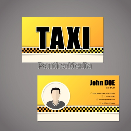 taxi business card template with driver
