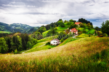 villaggio su una collina verde