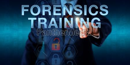 investigator touching forensics training
