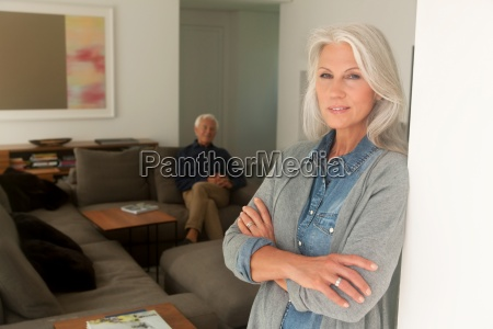 portrait of senior woman leaning at