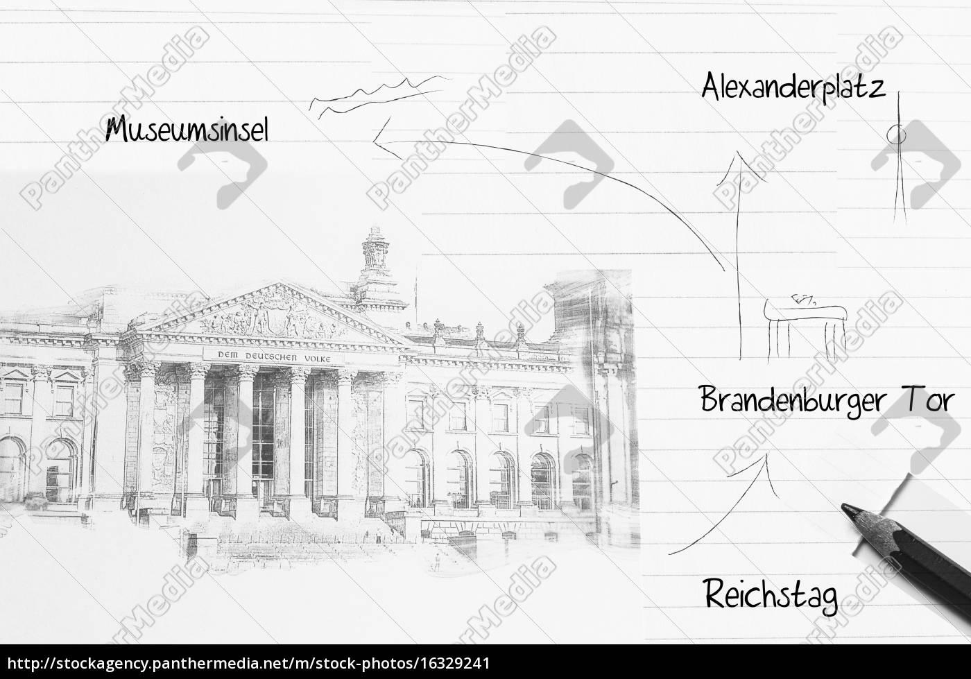 skizze des berliner reichstag - Lizenzfreies Bild - #16329241 ...