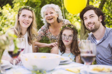 happy family of three generations on