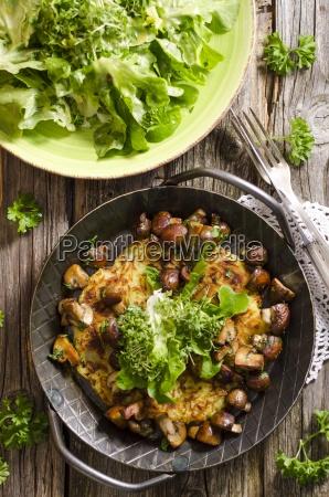 fresh potato rosti in a pan