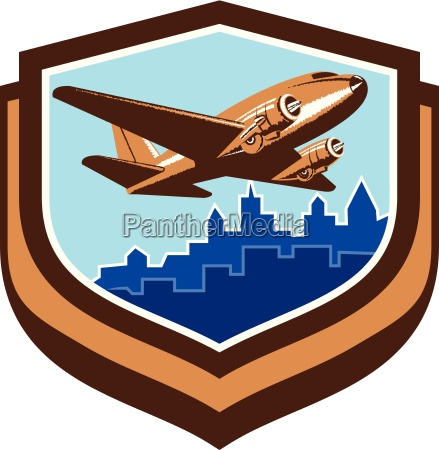 vintage airplane take off cityscape shield