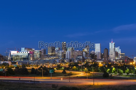usa colorado denver cityscape and interstate