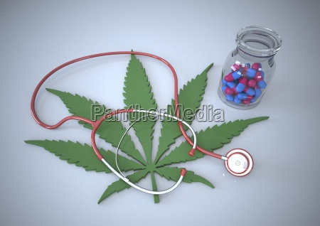 pills stethoscope and cannabis leaf illustration