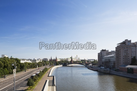 russia moscow river moskva and buildings