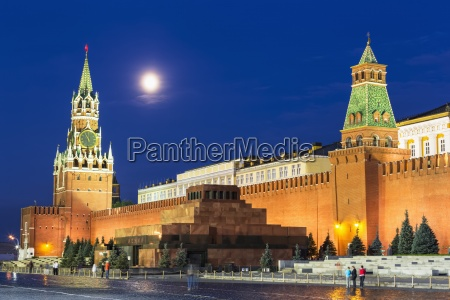 russia moscow view to spasskaya tower