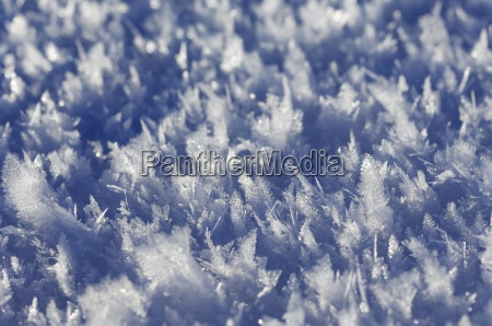 ice crystals at the surface of