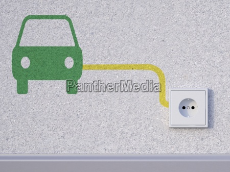 3d rendering car symbol next to