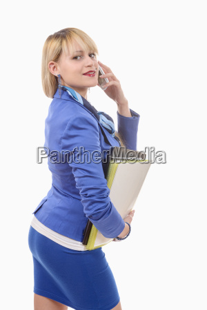 attractive blond woman in blue business