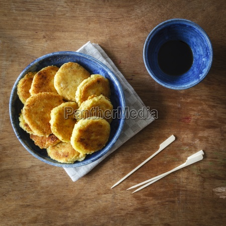 bowl with vegan fritters made of