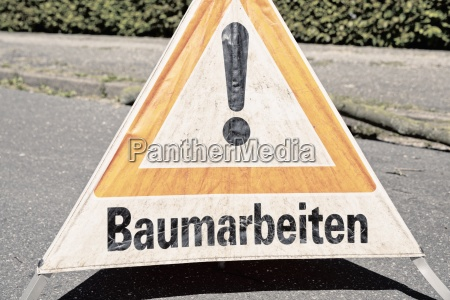 germany warning sign on a road