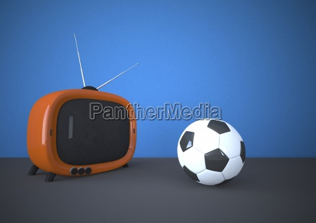 orange tv with soccer ball 3d