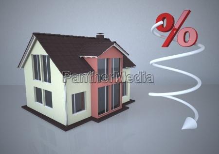 wohnhaus mit fallenden prozentzeichen 3d illustration