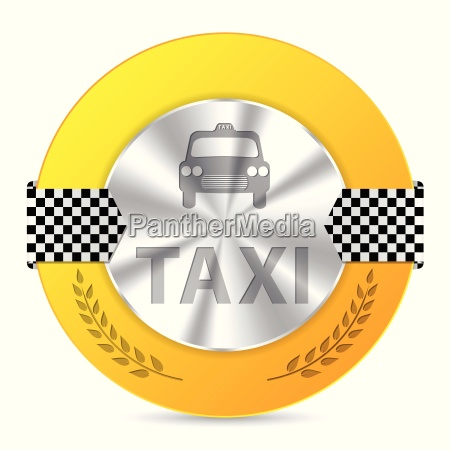 metallic taxi badge design with checkered