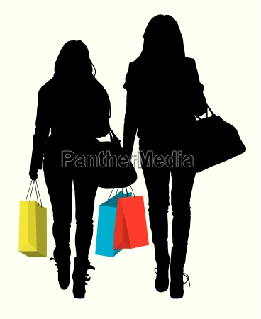 frau frauen einkaufen shoppen shopping silhouette