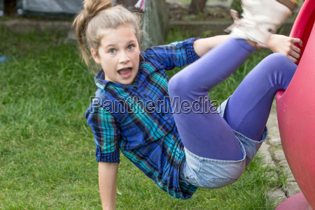 young girl falling out of the