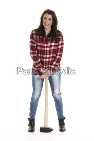 female artisans in checkered shirt with