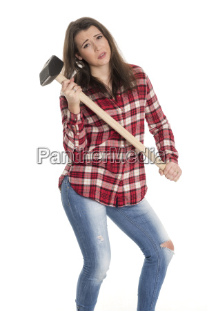 young woman wearing a heavy hammer