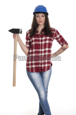 female artisan with a sledgehammer