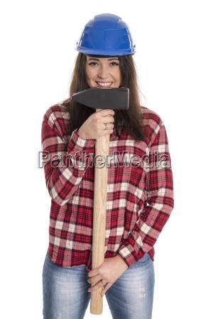 female artisan holding a sledgehammer
