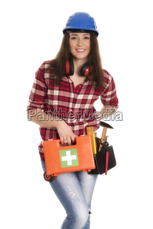 female artisan with first aid kit