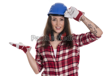 female artisan with hard hat pointing