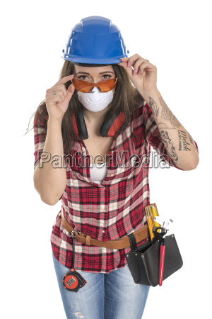 female artisan with protective mask and