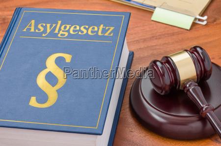 gesetzbuch mit richterhammer asylgesetz