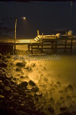 bruecke nacht nachtzeit strand sommer sommerlich