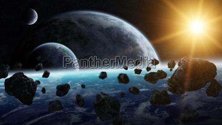 meteoriteneinschlag auf dem planeten erde im