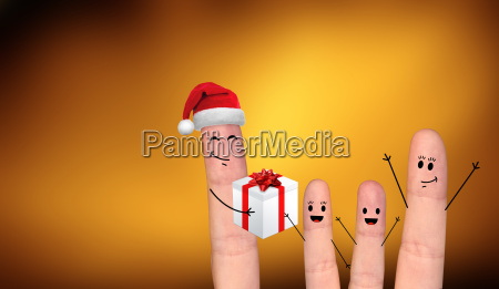 glueckliches fingerpaar in der liebe feiert