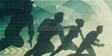 silhouetten von geschaeftsleuten mit teamarbeit