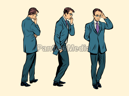 businessman thinks goes poses figure man