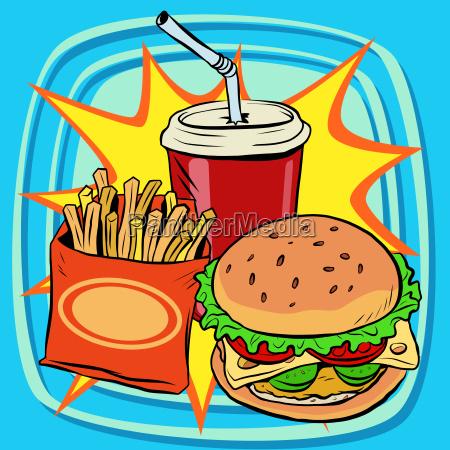 fast food fries burger drink cola