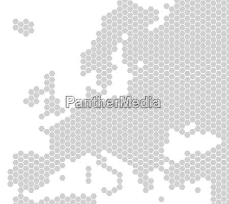 karte von europa aus hellgrauen sechsecken