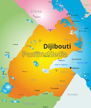 vector color map of djibouti
