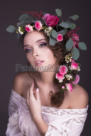 bouquet of flowers on the head