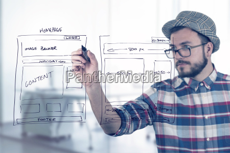 web designer zeichnen website entwicklung wireframe
