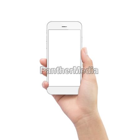 hand holding phone isolated on white